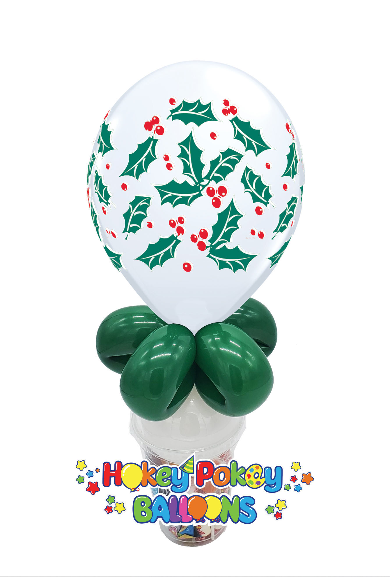 "Picture of 11"" Holly & Berries Balloon Candy Cup"