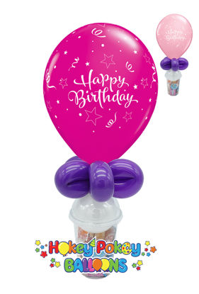 Picture of 11'' Birthday Shining Star Pink - Balloon Candy Cup