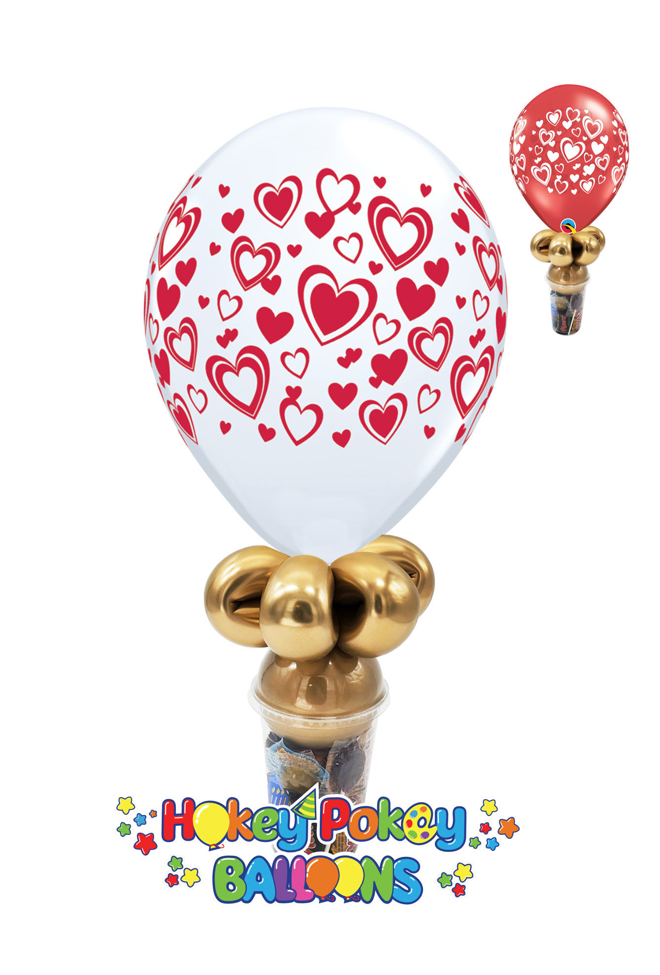 Picture of 11'' Double Hearts -  Balloon Candy Cup