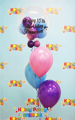 Picture of Personalized Birthday Balloon Bouquet with Clear stuffed Topper (4pc)