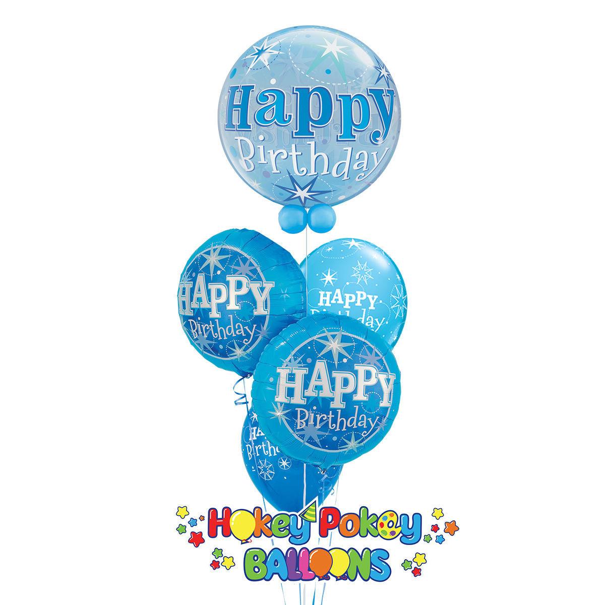 Picture of Birthday Starburst Sparkle Balloon Bouquet of 5