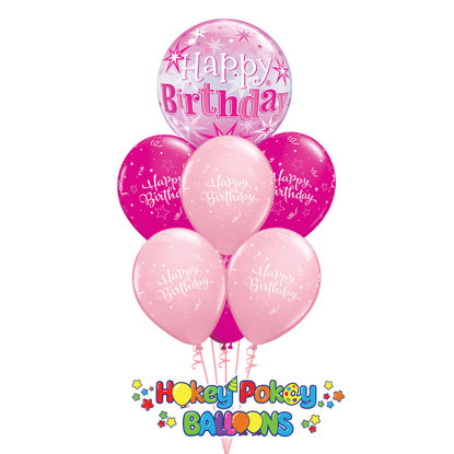 Picture of Shining Star Birthday Sparkle Bubble Deluxe - Balloon Bouquet of 7