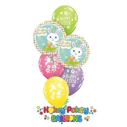 Picture of Adorable  Easter Bunny Balloon Bouquet of 6