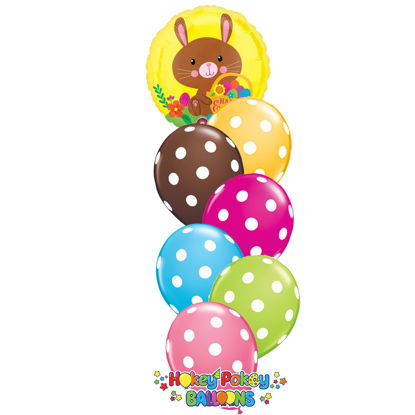 Picture of Happy Easter Bunny Balloon Bouquet of 7