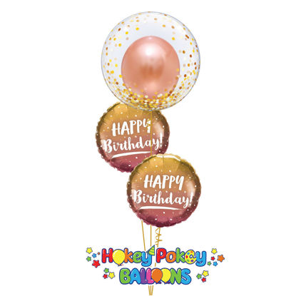 Picture of Gold & Rose Gold Ombre  Birthday Balloon Bouquet with Deco Bubble