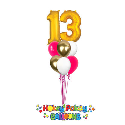 Picture of 11 Inch Helium Balloon Bouquet of 6 with 2 foil Numbers