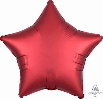 "Picture of 19"" Satin Luxe Sangria Red Star Foil Balloon (helium-filled)"
