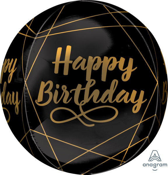 Picture of Happy Birthday Elegant Black and Gold Orbz Balloon (helium-filled)