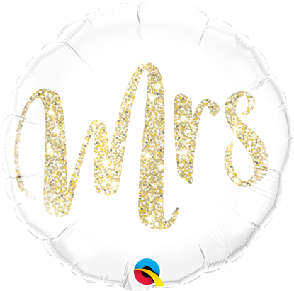 "Picture of 18"" Mrs. Glitter Gold Foil Balloon  (helium-filled)"