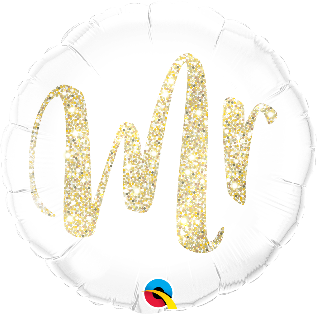 """Picture of 18"""" Mr. Glitter Gold Foil Balloon  (helium-filled)"""