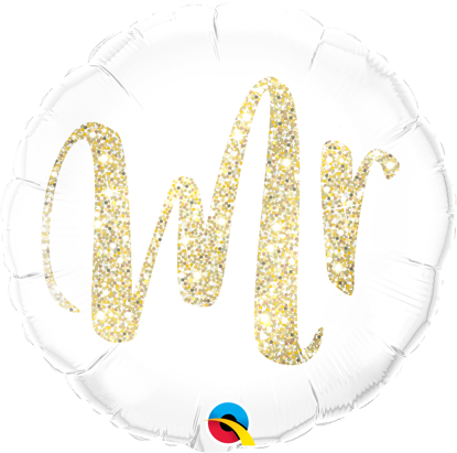 "Picture of 18"" Mr. Glitter Gold Foil Balloon  (helium-filled)"