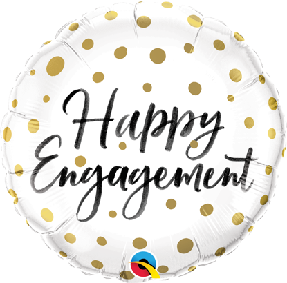 "Picture of 18"" Happy Engagement Gold Dots Foil Balloon (helium-filled)"