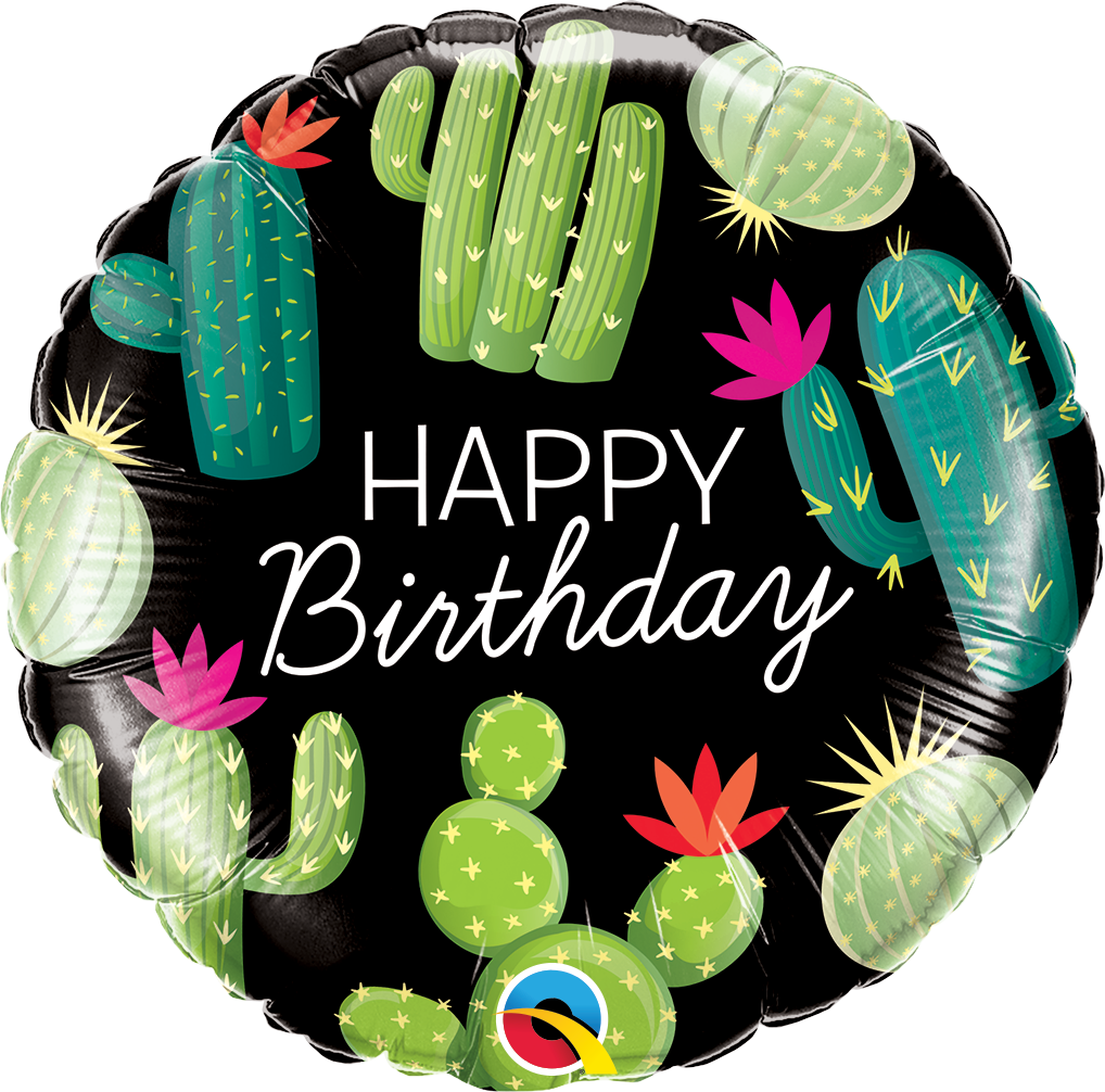 """Picture of 18"""" Happy Birthday Cactuses Foil Balloon (helium-filled)"""
