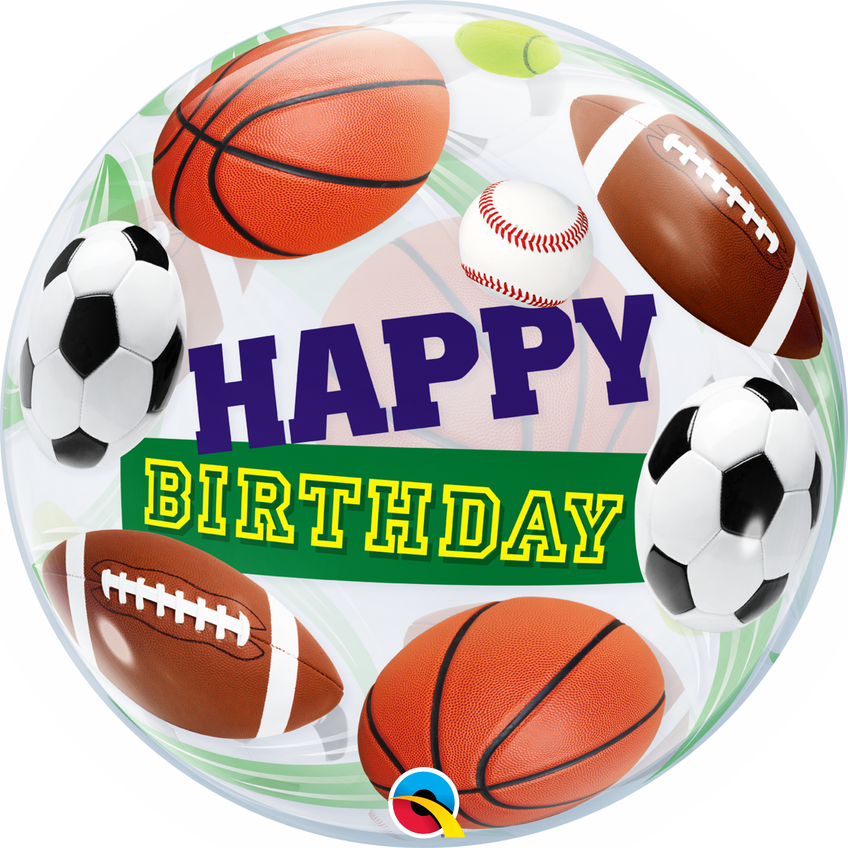 Picture of 22″ Happy Birthday Sport Balls - Bubble Balloon (helium-filled)