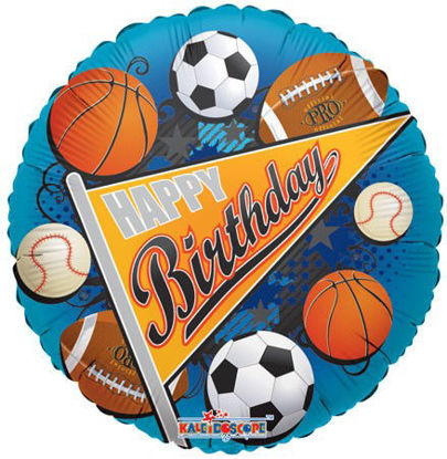 "Picture of 18"" Happy Birthday Sports Pennant Foil Balloon (helium-filled)"