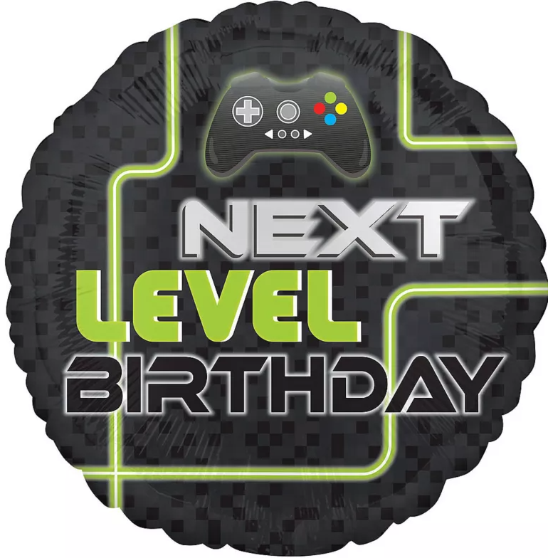 "Picture of 18"" Level Up Gaming Birthday Foil Balloon (helium-filled)"
