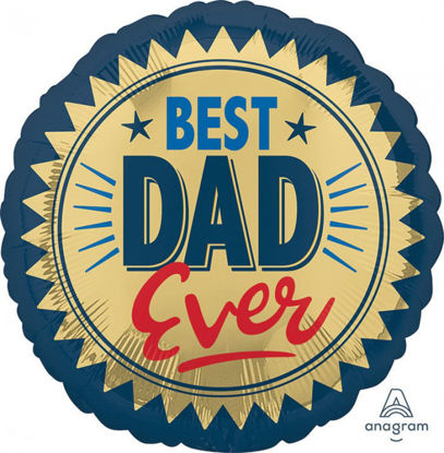 Picture of 18'' Best Dad Ever Gold Stamp Foil Balloon (helium-filled)