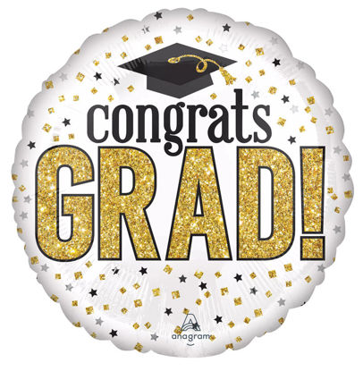"Picture of 28"" Grad Sparkle  Jumbo Foil Balloon  (helium-filled)"