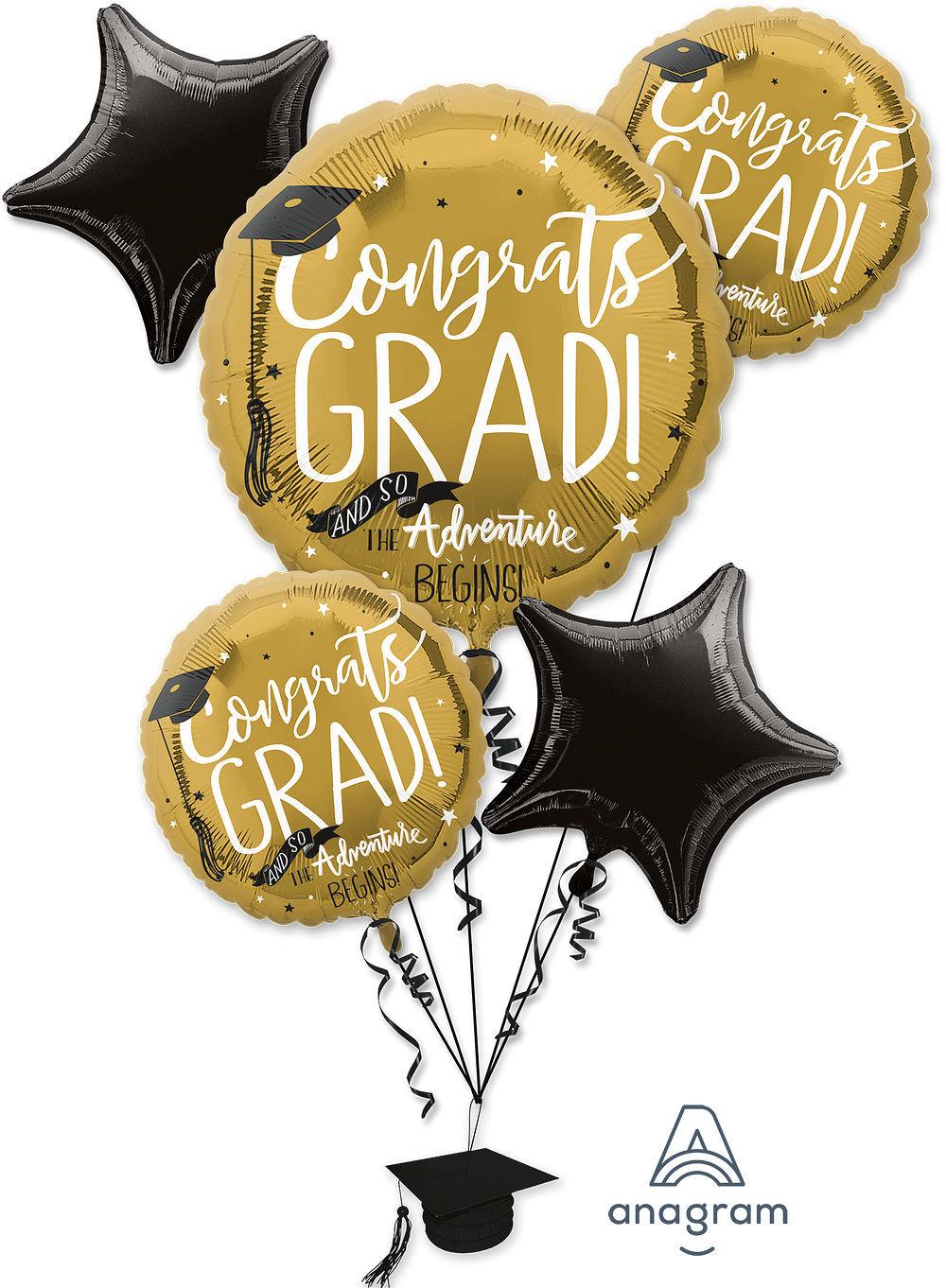 Picture of The Adventure Begins - Graduation Foil Balloon Bouquet (5 pc)