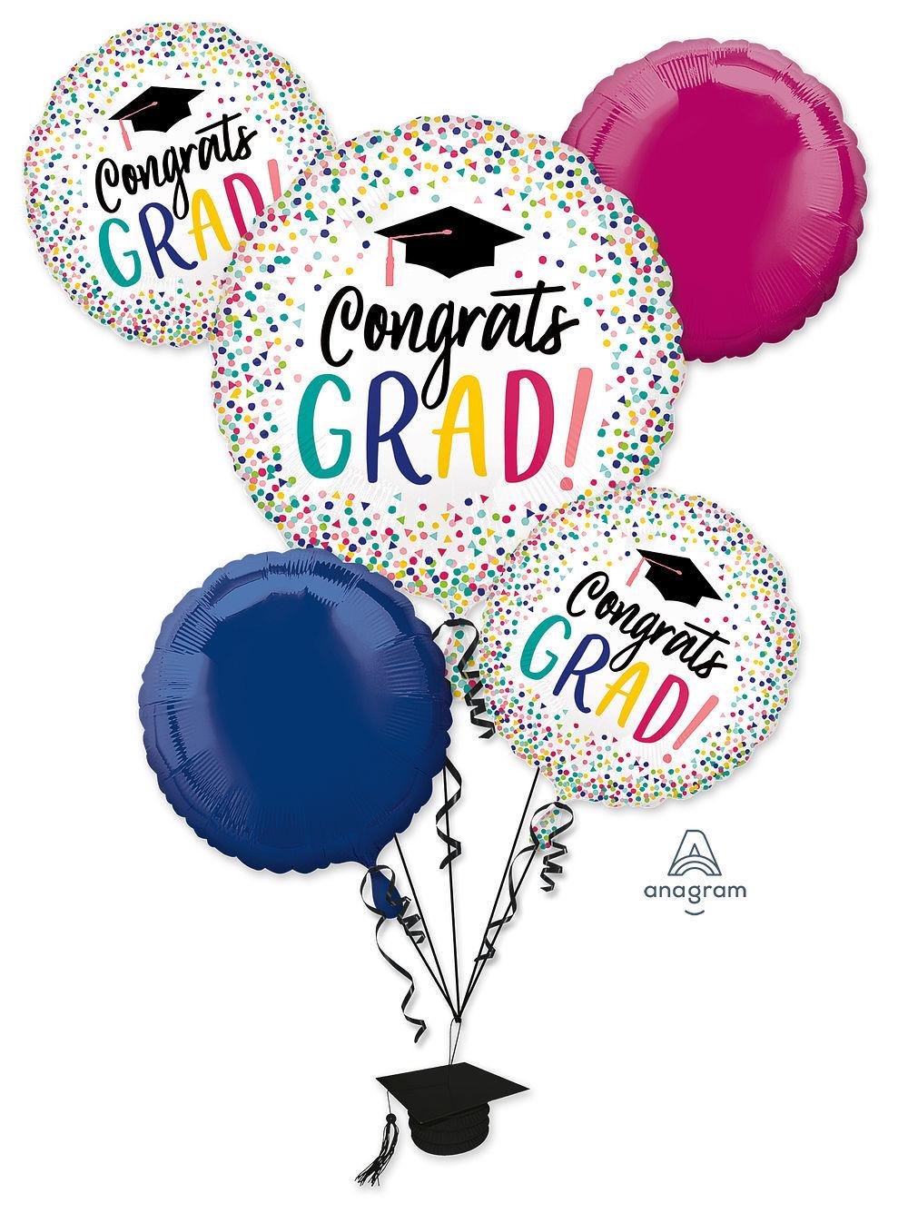 Picture of YAY Grad - Graduation Foil Balloon Bouquet (5 pc)