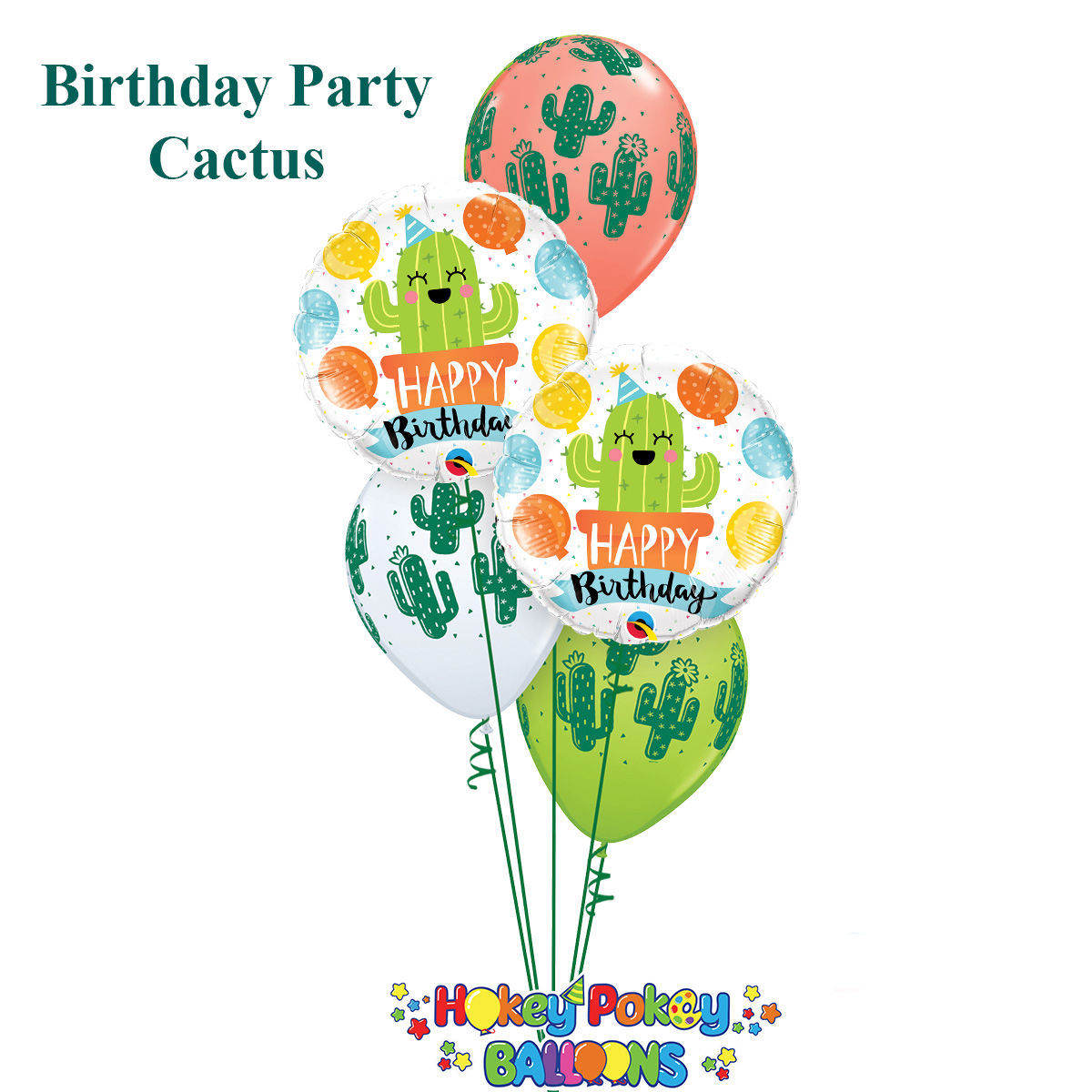 Picture of Birthday Cactus Balloon Bouquet of 5