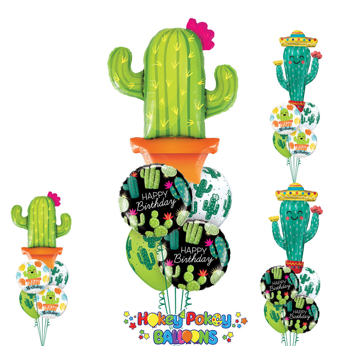 Picture of Birthday Fiesta Balloon Bouquet with Jumbo Cactus