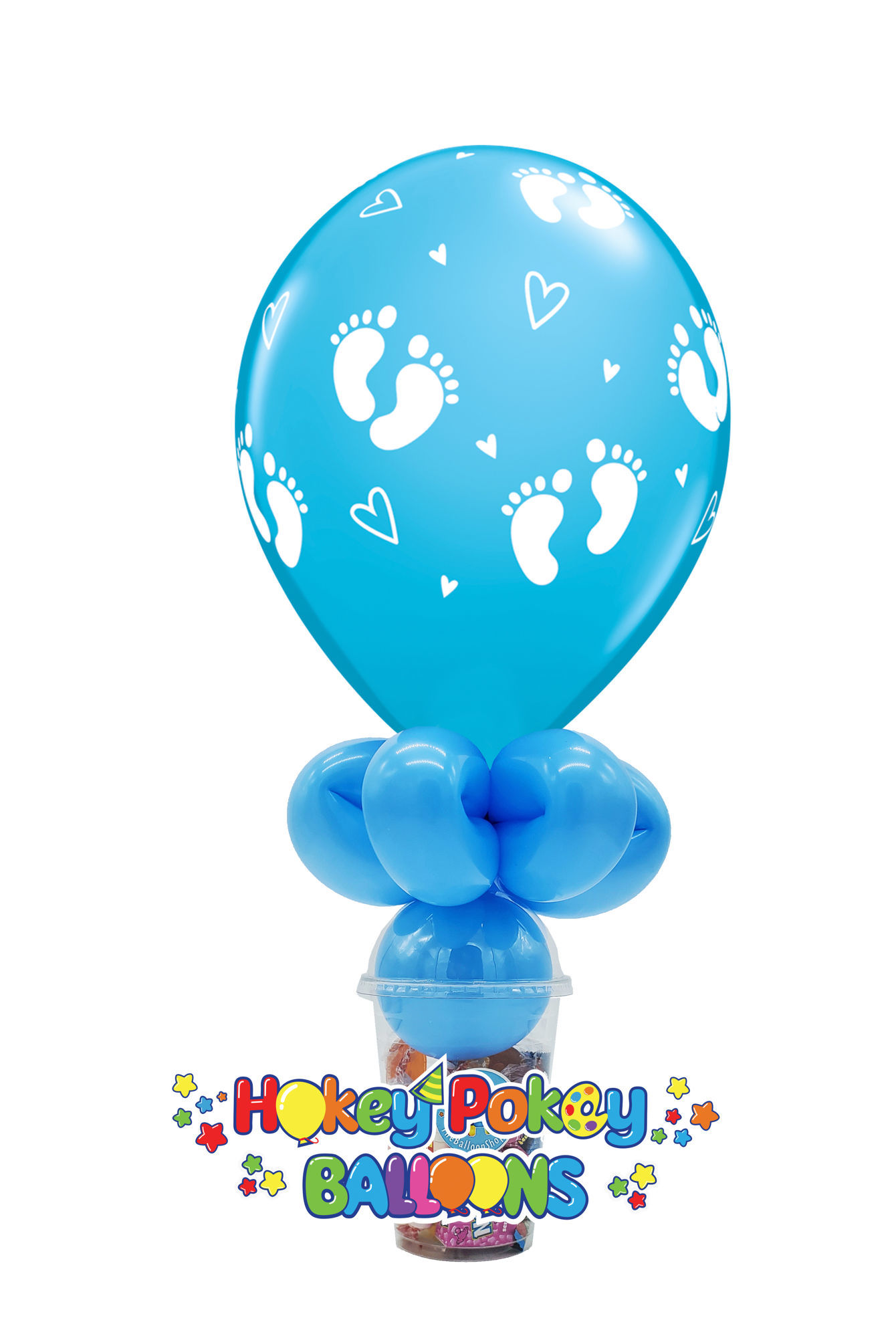 Picture of 11'' Baby Footprints and Hearts -  Balloon Candy Cup