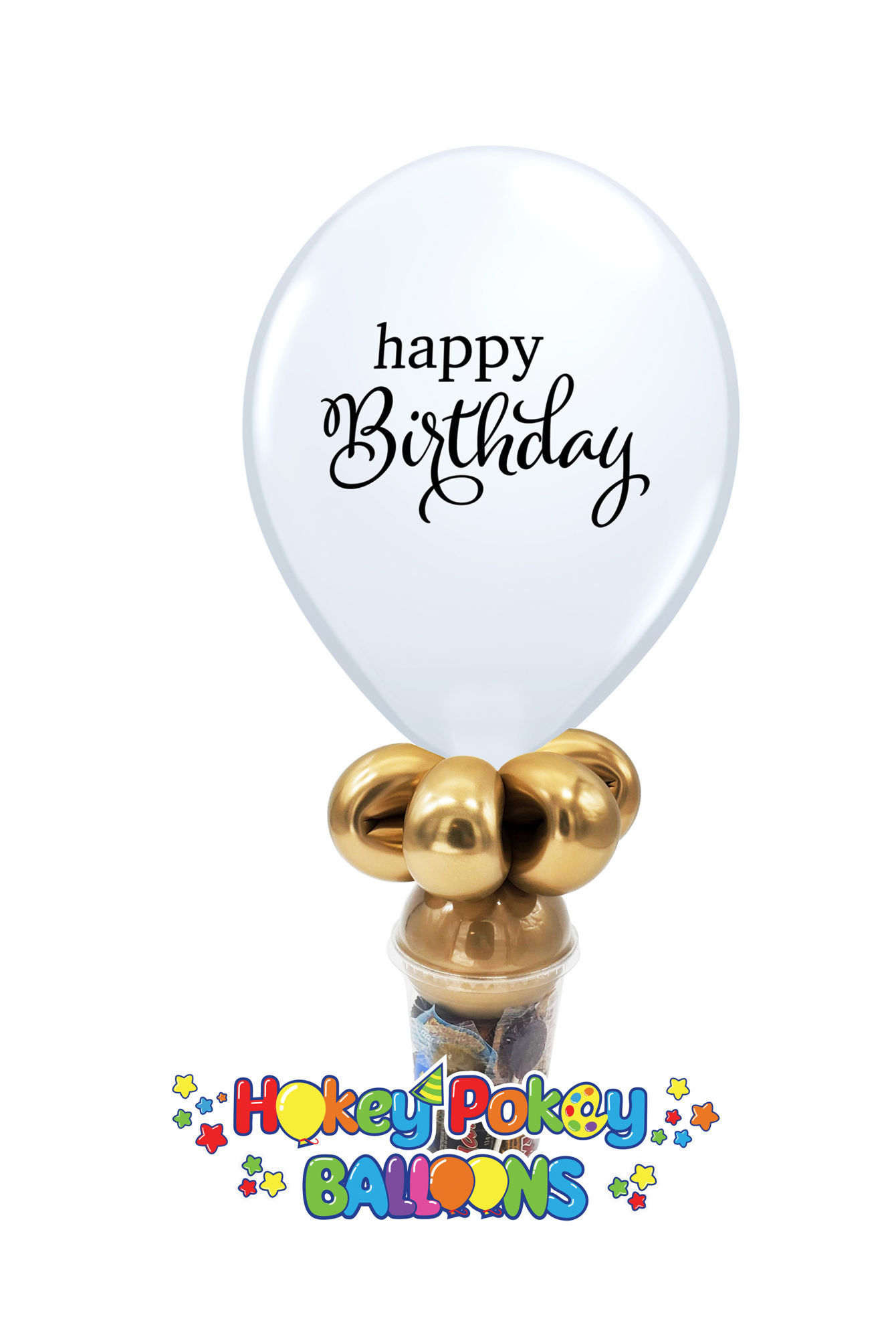 """Picture of 11""""  Simply Happy Birthday Balloon Candy Cup"""