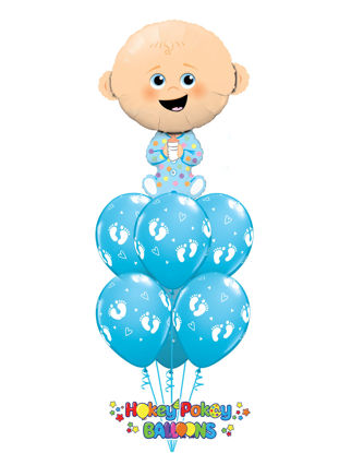 Picture of Baby Boy with Baby Foot Print - Balloon Bouquet