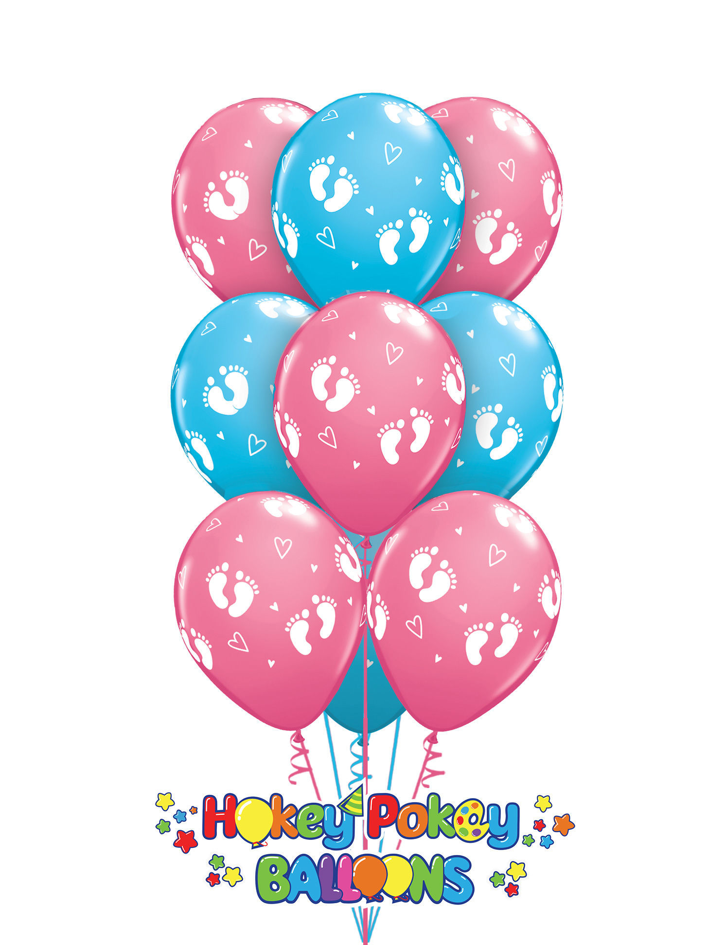 Picture of 11''  Baby Footprints and Hearts  -  Latex Balloon Bouquet (up to 12 balloons)