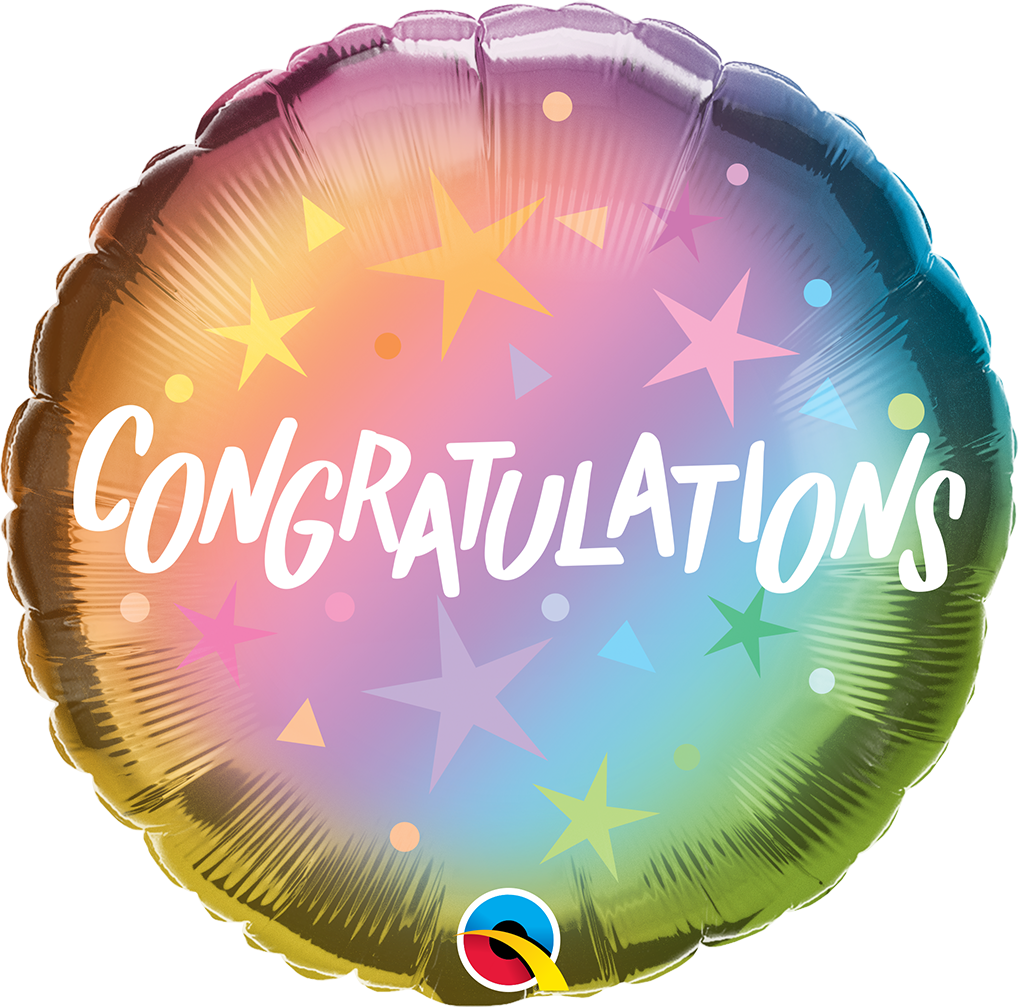 "Picture of 18"" Congratulations Ombre & Stars Foil Balloon  (helium-filled)"