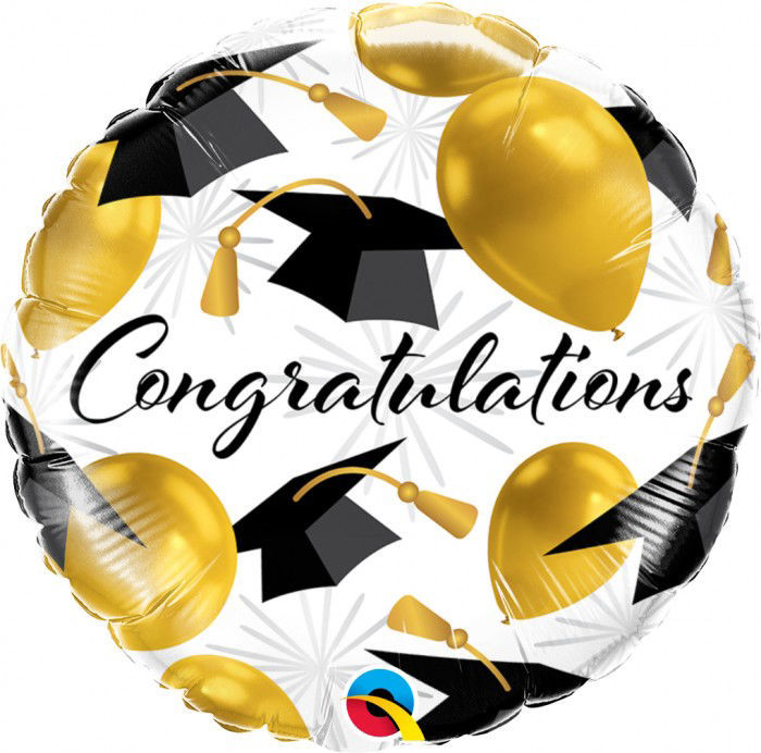 """Picture of 18"""" Congratulations Gold Foil Balloon  (helium-filled)"""