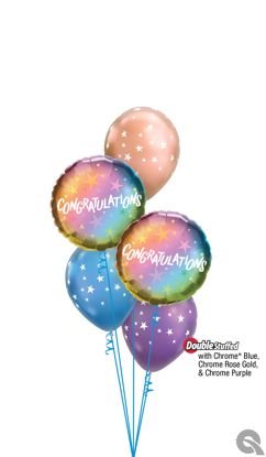 Picture of Congratulations Ombre & Stars Balloon Bouquet (5 pc)