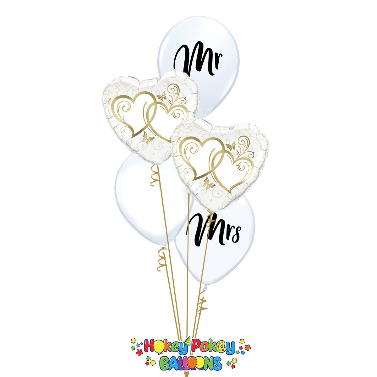 Picture of Couple of Entwined Gold Hearts - Balloon Bouquet of 5
