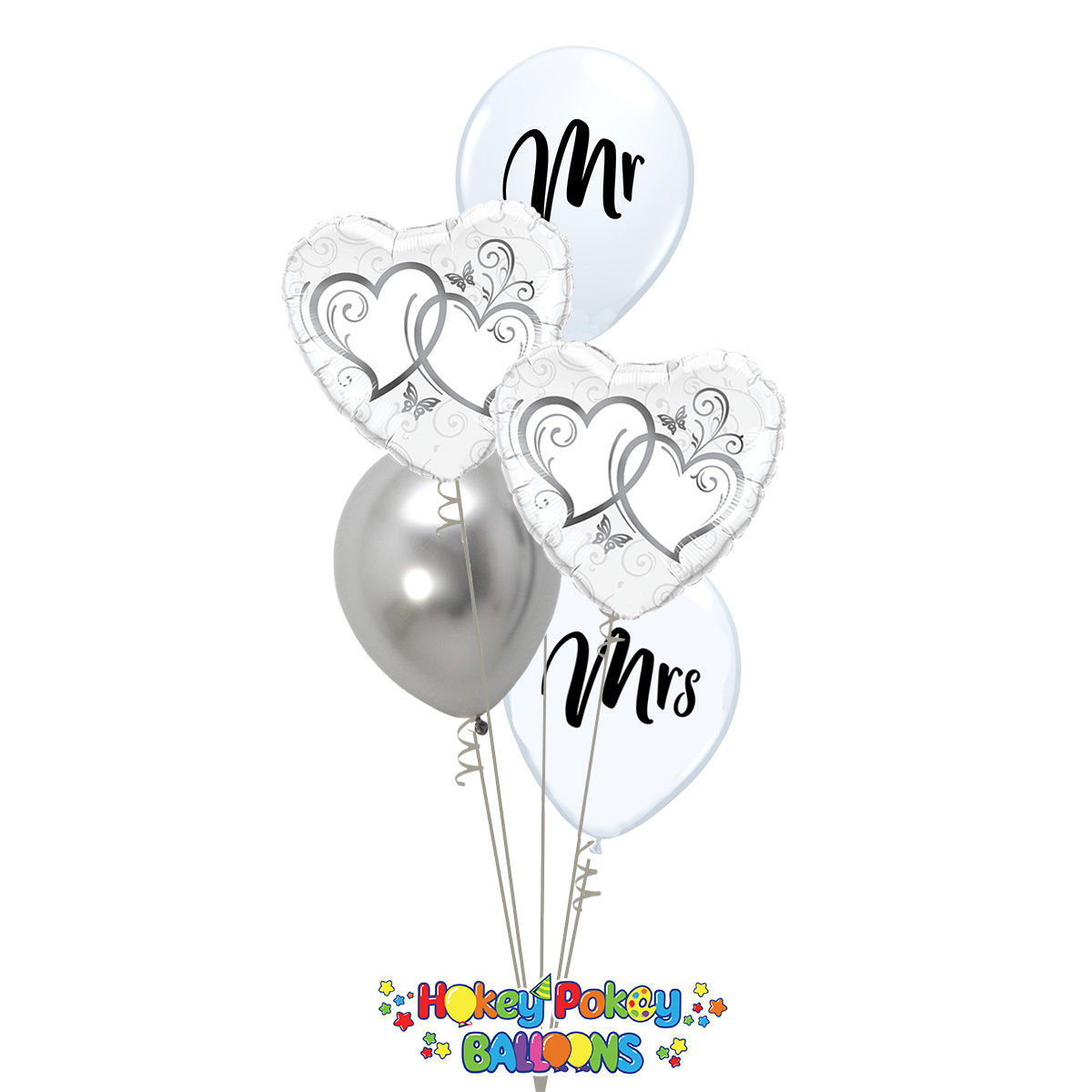 Picture of Couple of Entwined Silver Hearts - Balloon Bouquet of 5