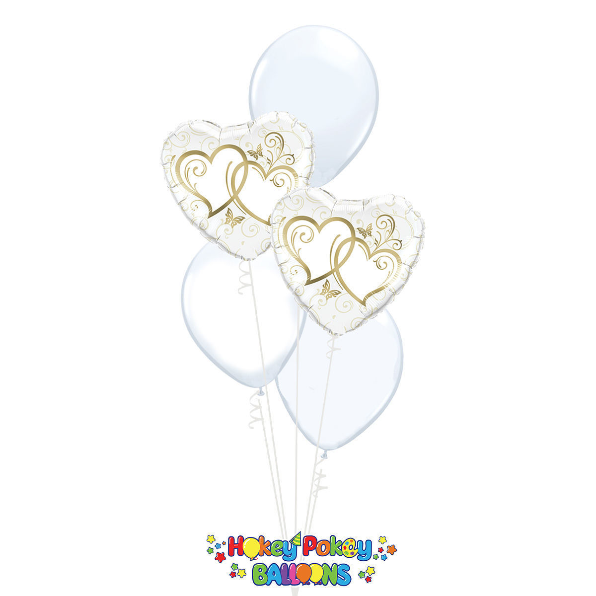 Picture of Entwined Gold Hearts - Balloon Bouquet of 5