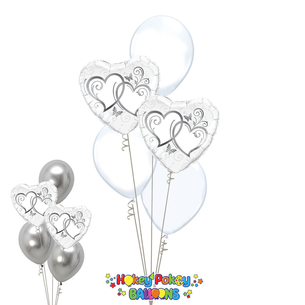 Picture of Entwined Silver Hearts - Balloon Bouquet of 5