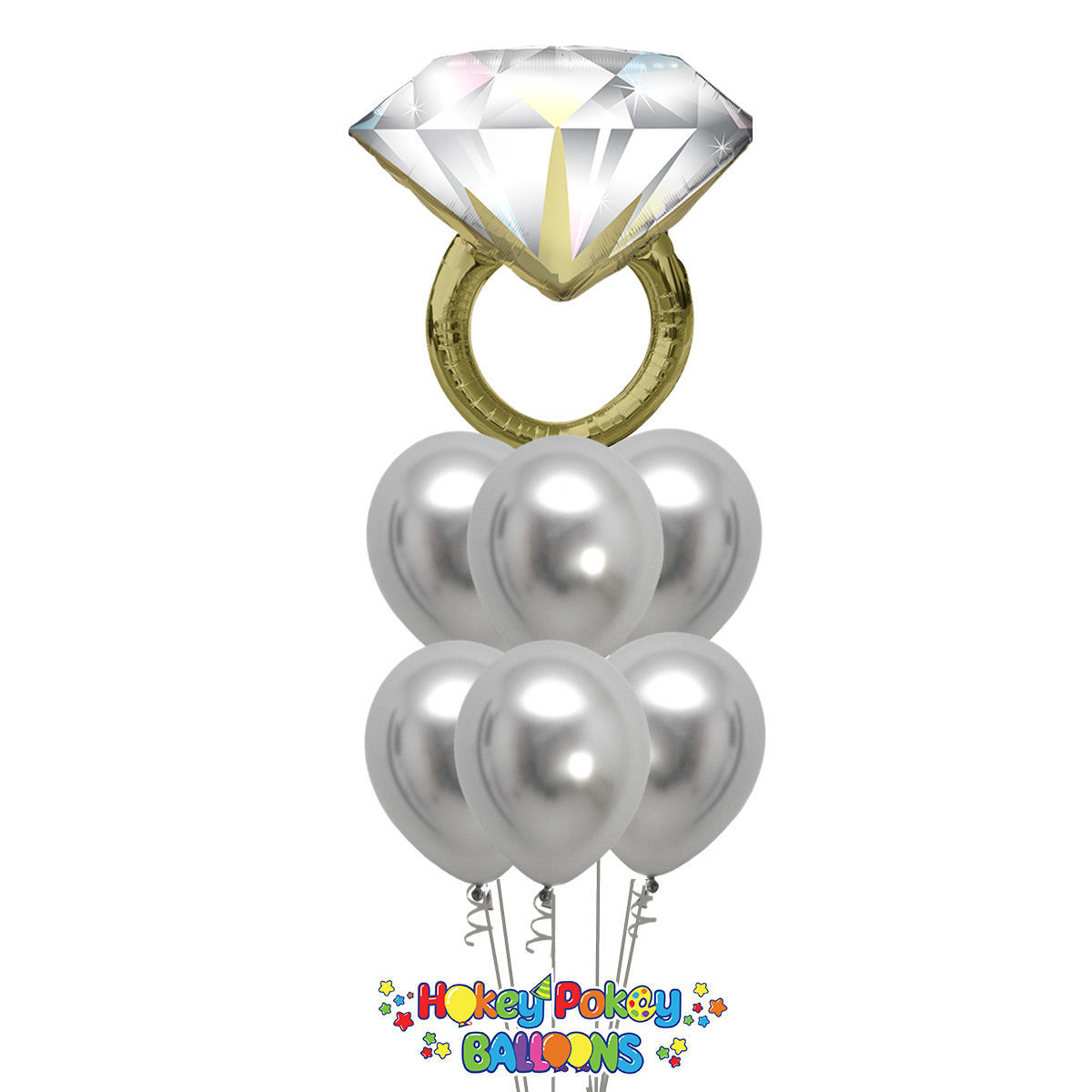 Picture of Classic Balloon Bouquet with Diamond Ring
