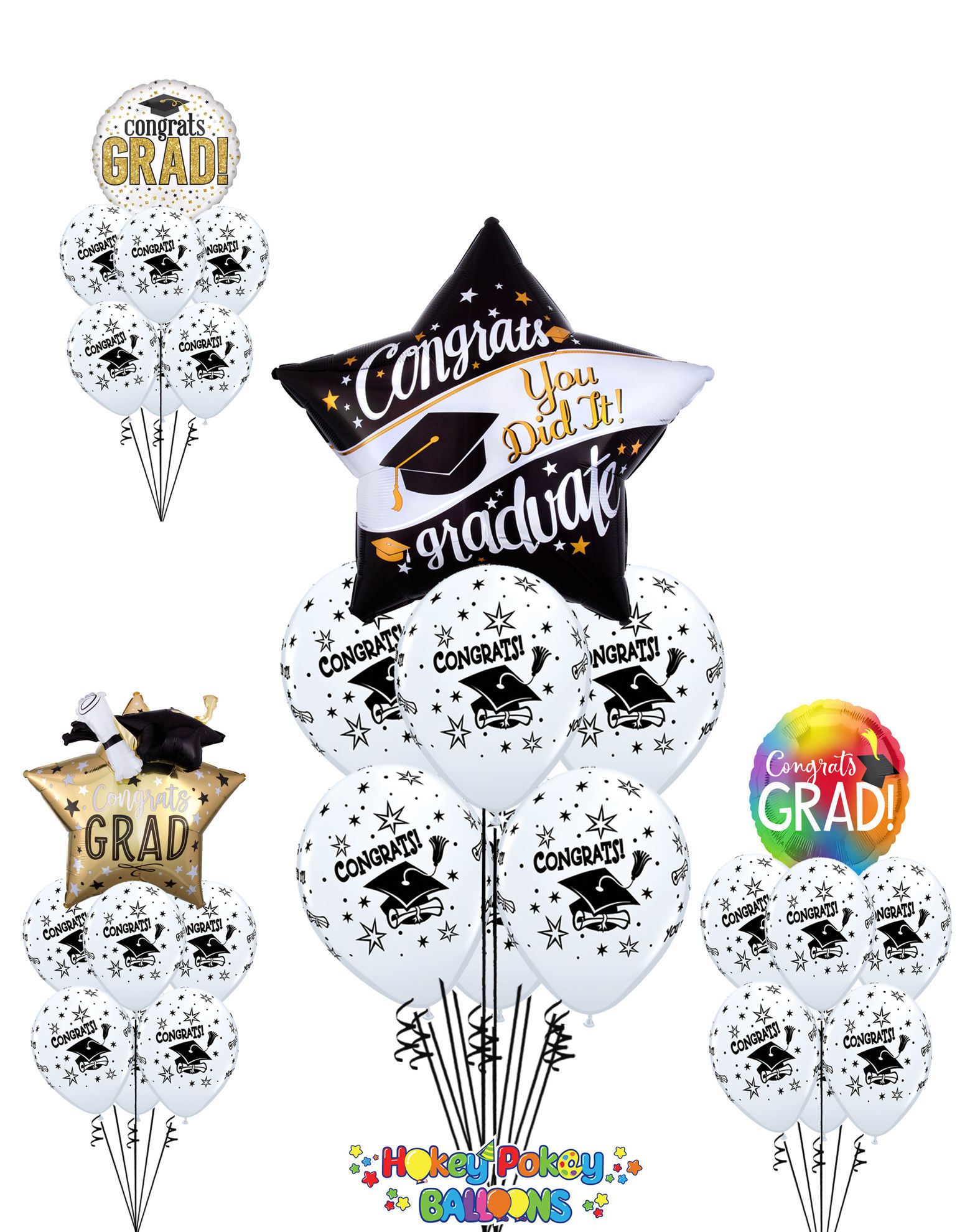 Picture of Graduation with Gold - Balloon Bouquet (7 pc)