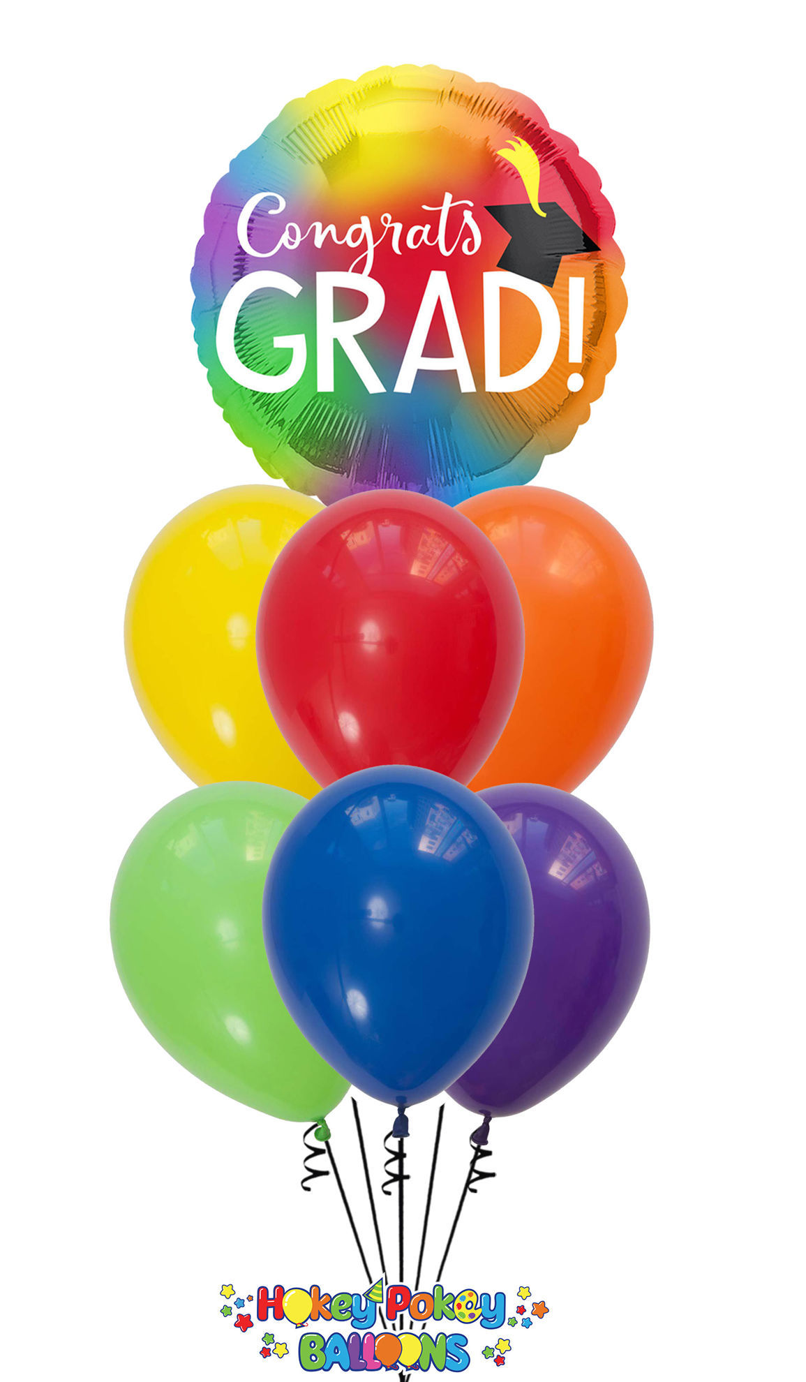 Picture of Colorful Graduation Party Balloon Bouquet (7 pc)
