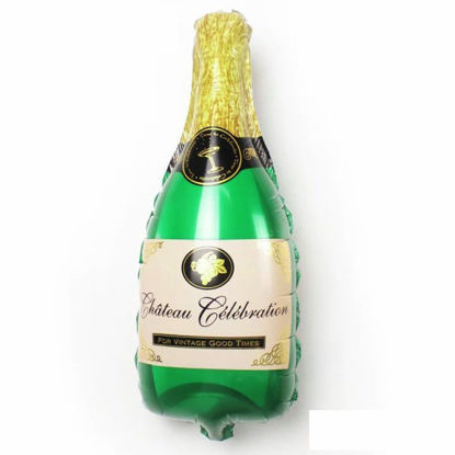 """Picture of 39"""" Green Champagne Bottle  Foil Balloon  (helium-filled)"""