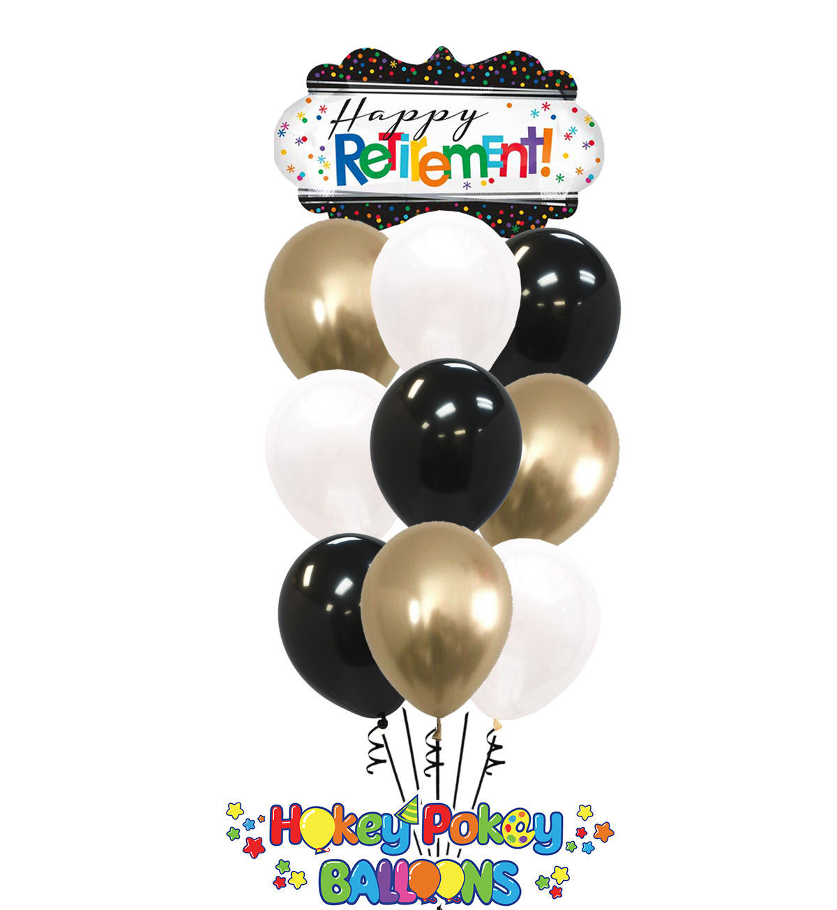 Picture of Happy Retirement with Gold - Balloon Bouquet (10 pc)