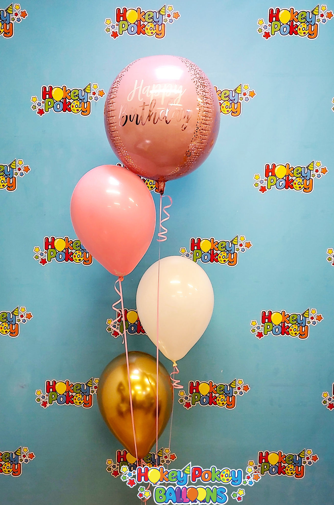 Picture of Blush Birthday  - Balloon Bouquet of 4