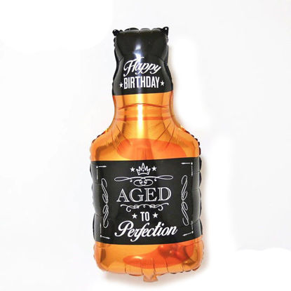 """Picture of 34"""" Aged to Perfection - Whiskey Bottle  Foil Balloon  (helium-filled)"""