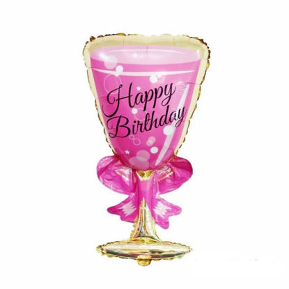 Picture of 37'' Pink Happy Birthday Wine Goblet  Foil Balloon (helium-filled)