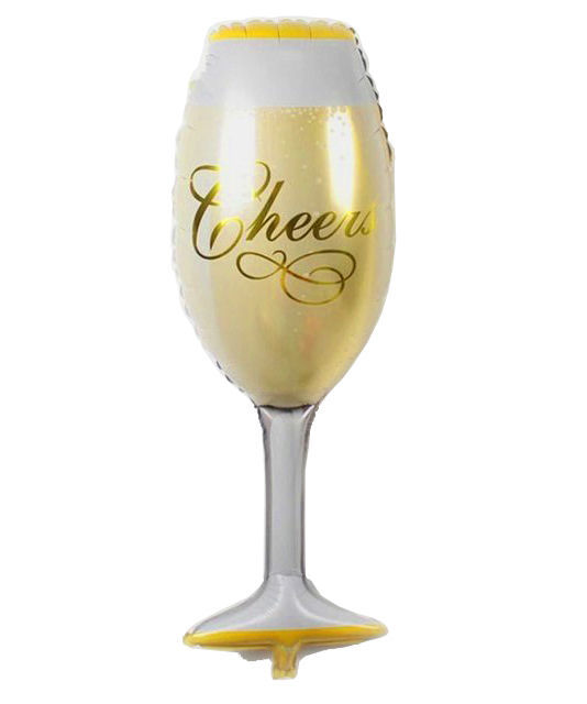 """Picture of 38"""" Jumbo Cheers Champagne Glass Foil Balloon (helium-filled)"""