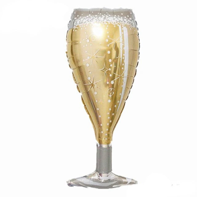"""Picture of 38"""" Jumbo Sparkling Wine Glass Foil Balloon (helium-filled)"""