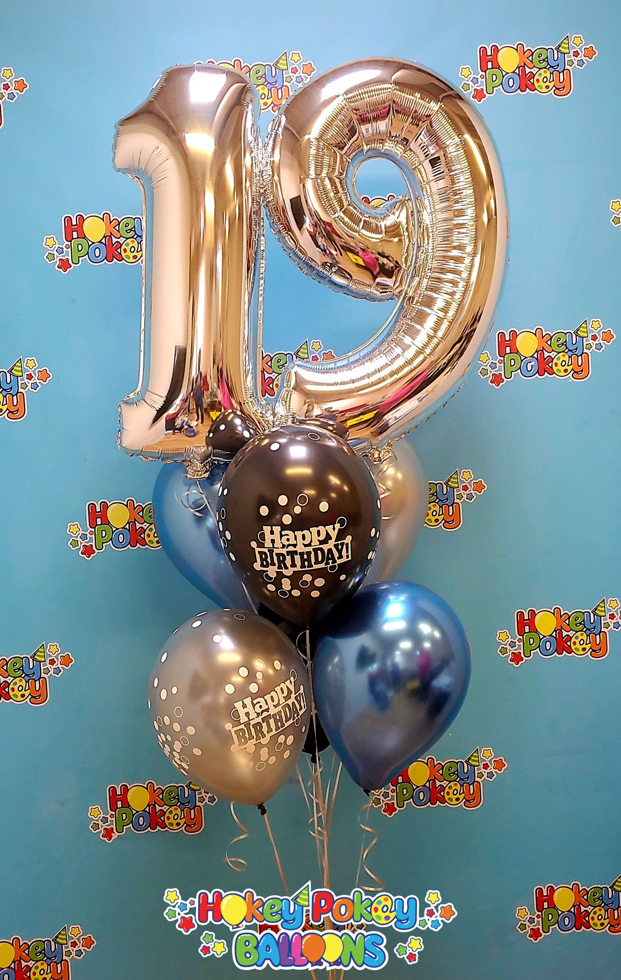 Picture of 11'' Birthday Confetti Balloon Bouquet  with 2 foil Numbers