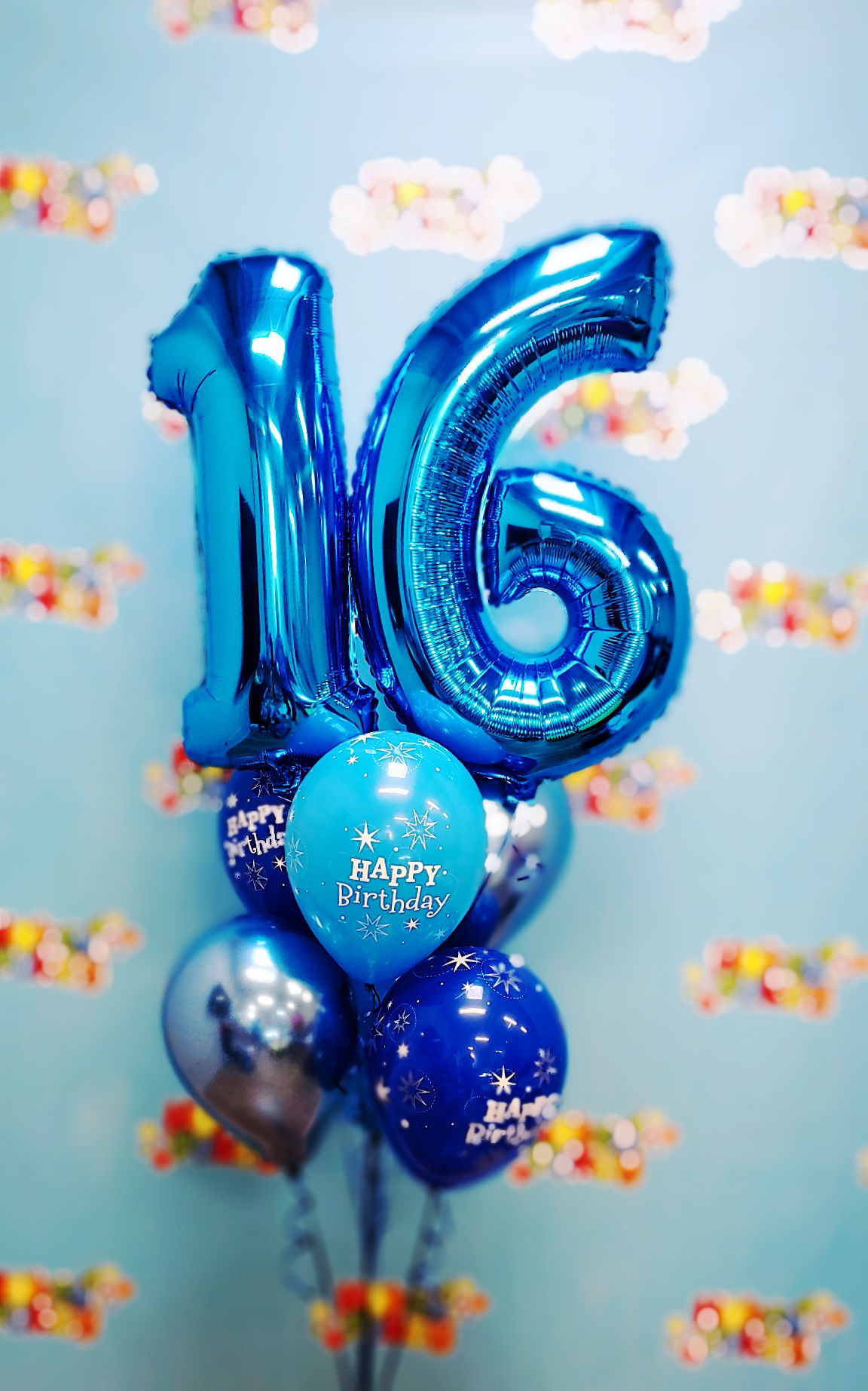 Picture of 11'' Blue Birthday Sparkle Balloon Bouquet  with 2 foil Numbers