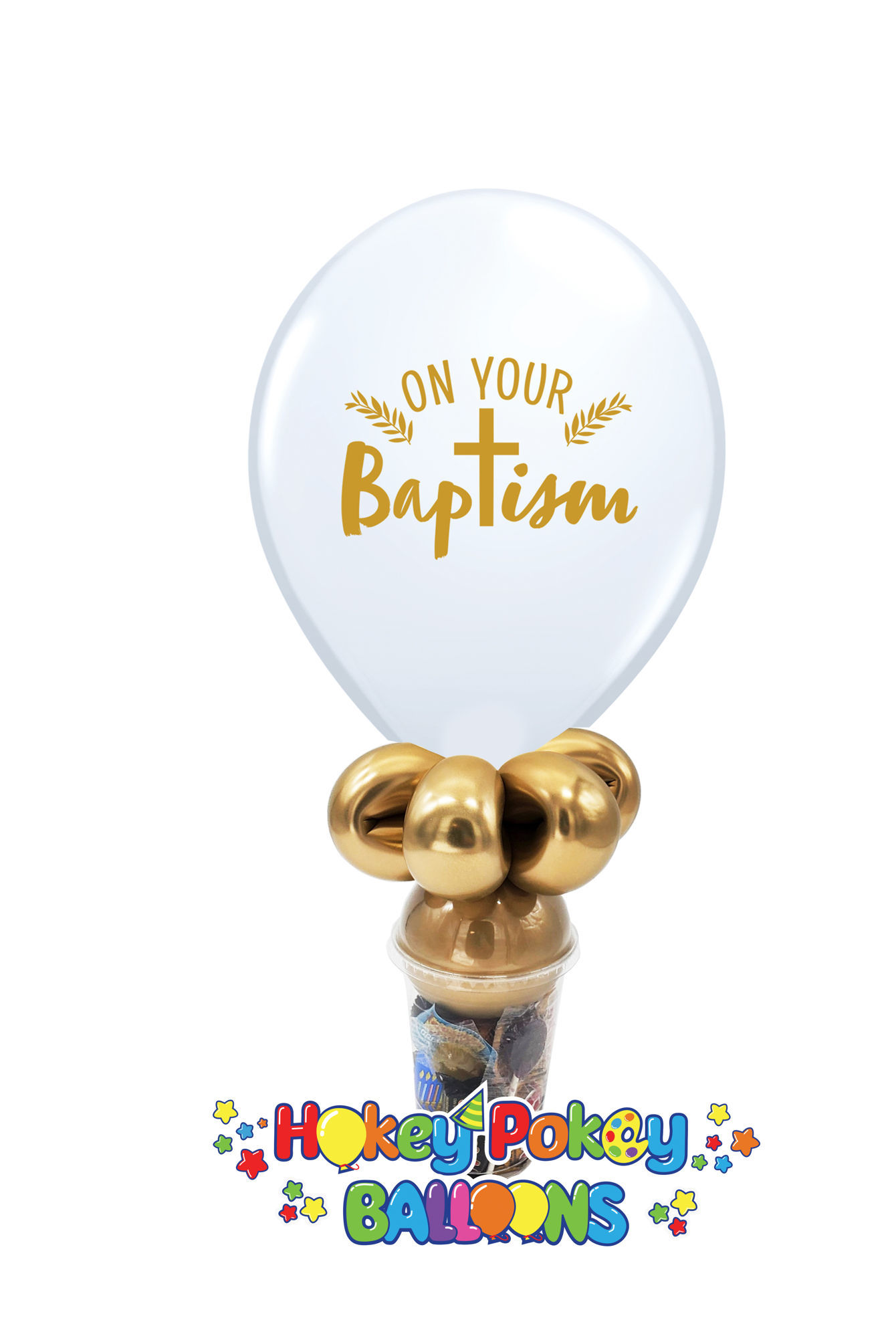 Picture of 11'' On Your Baptism - Balloon Candy Cup